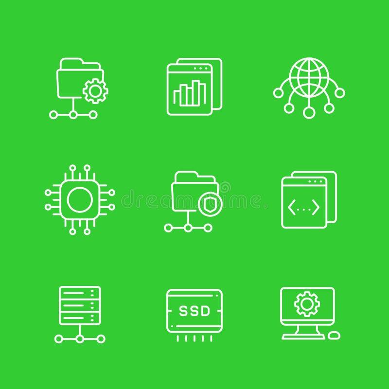 Serviços de acolhimento, redes, ftp, ícones dos servidores ilustração do vetor