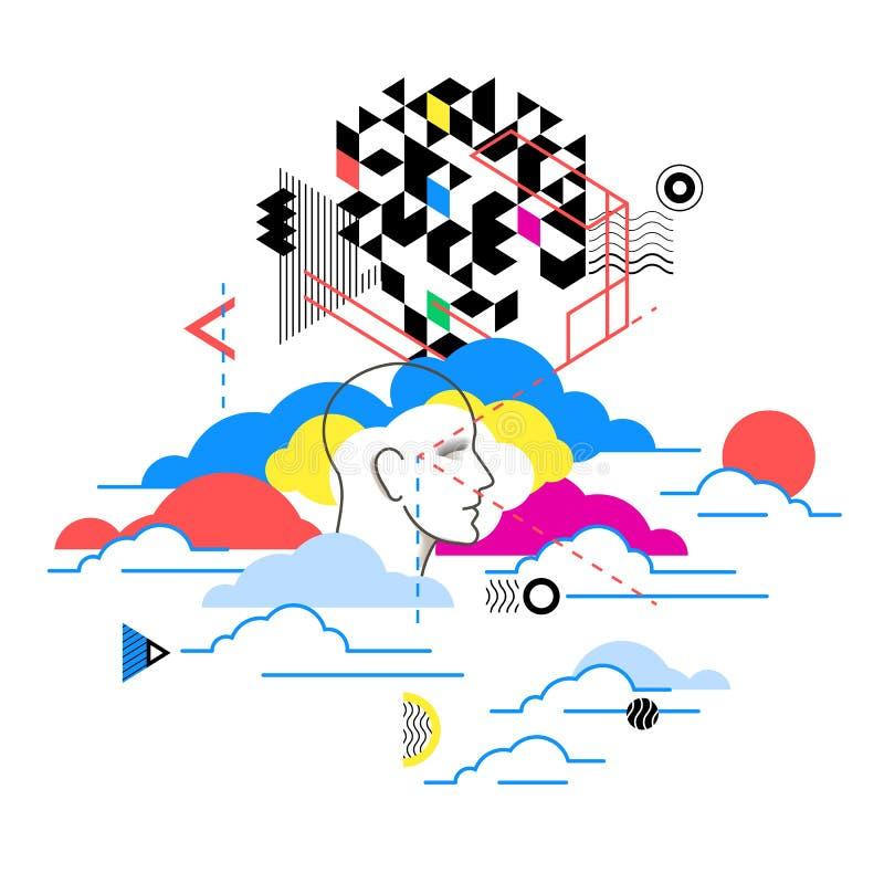 Serviços de computação da nuvem, metáfora da tecnologia Ilustração abstrata ilustração stock