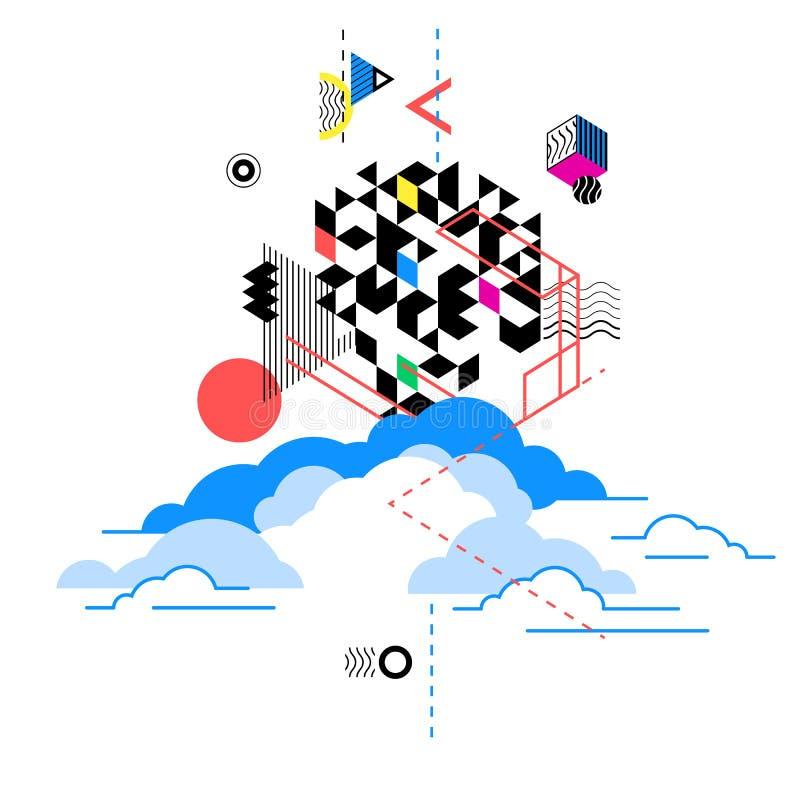 Serviços de computação da nuvem, metáfora da tecnologia Ilustração abstrata ilustração royalty free