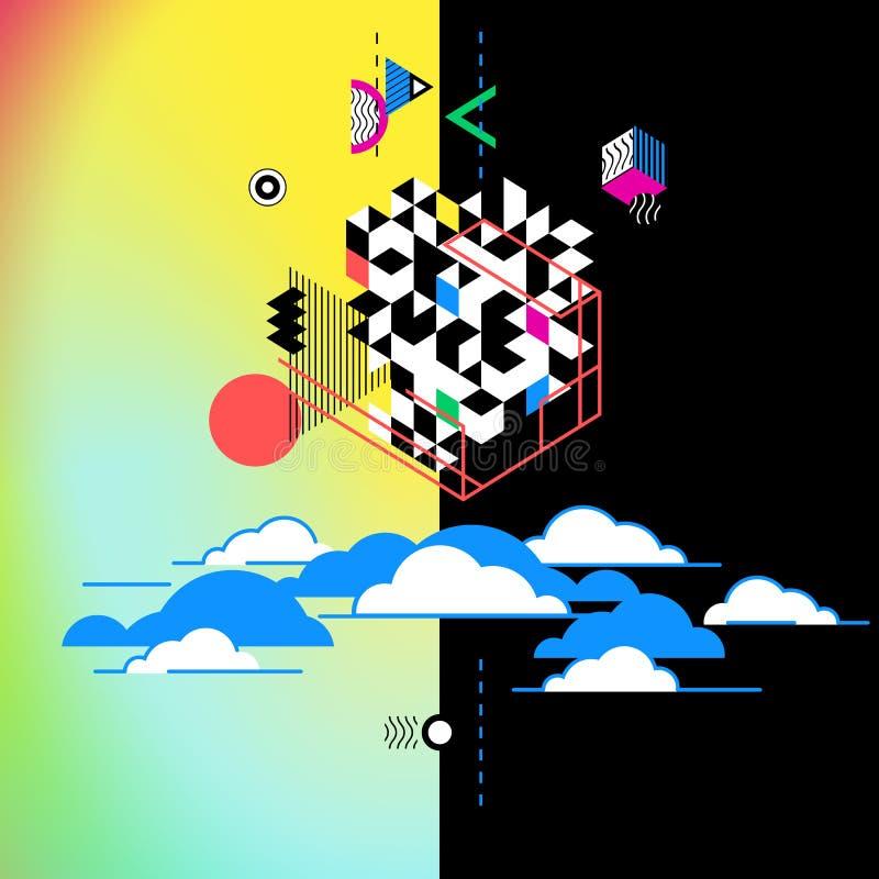 Serviços de computação da nuvem, metáfora da tecnologia Ilustração abstrata ilustração do vetor
