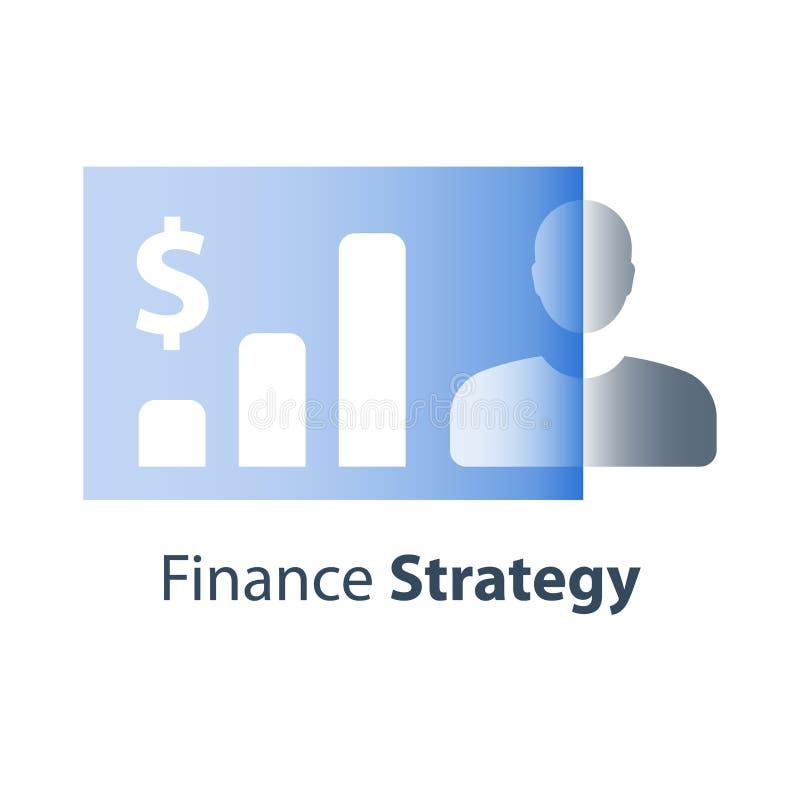 Serviços de corretor, portfólio personalizado do mercado de valores de ação, investimento a longo prazo, crescimento do rendiment ilustração stock