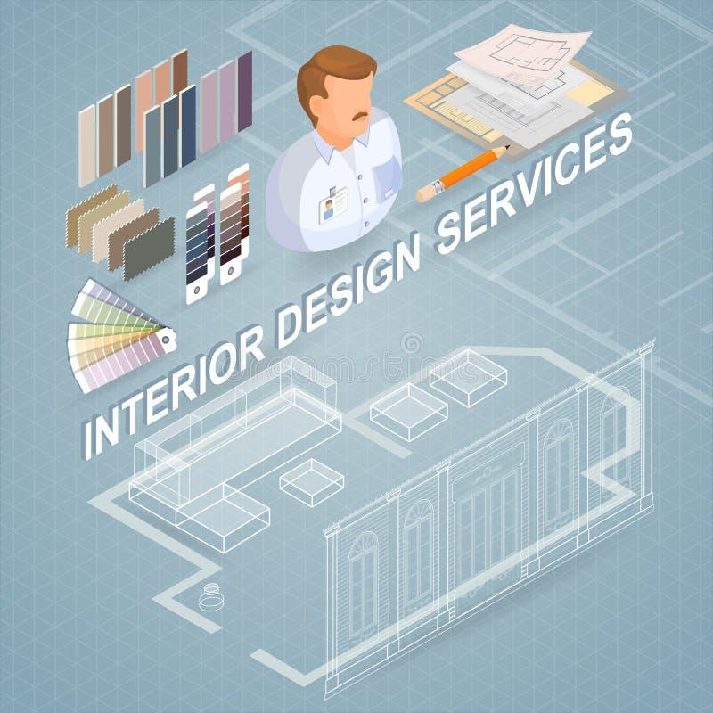 Serviços de design de interiores Projeto e conceito isométricos dos reparos ilustração stock