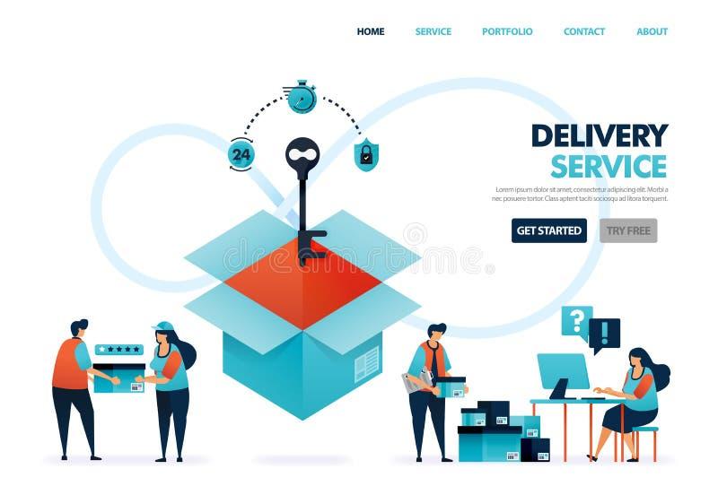 Serviços de entrega ou expedição para empresas e empresas de comércio eletrônico Entregar documentos e mercadorias chave para Seg ilustração stock