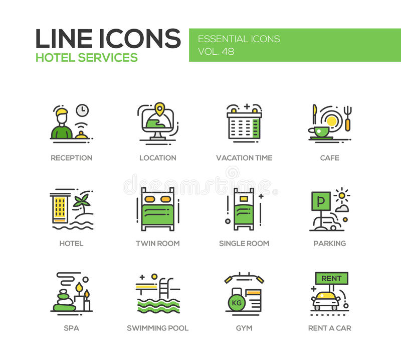 Serviços de hotel - linha lisa ícones do projeto ajustados ilustração stock
