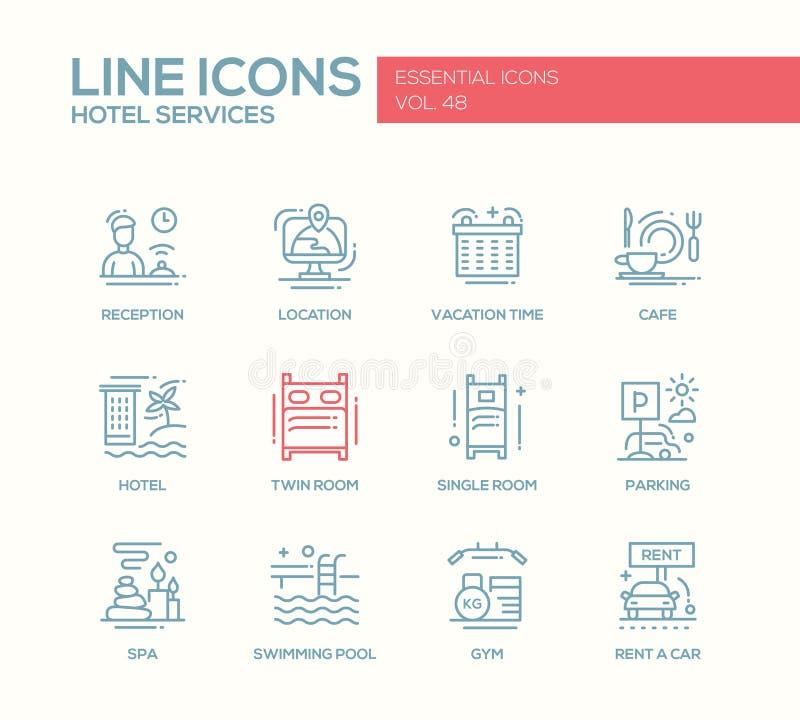 Serviços de hotel - linha lisa ícones do projeto ajustados ilustração do vetor