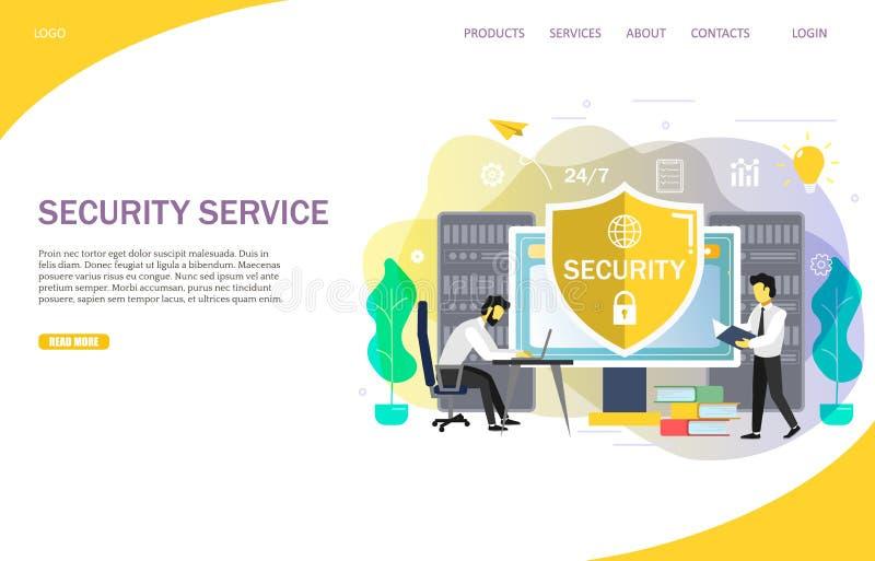 Serviços de segurança em linha que aterram o molde do vetor do Web site da página ilustração royalty free