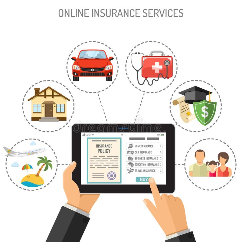 Serviços de seguro em linha ilustração do vetor