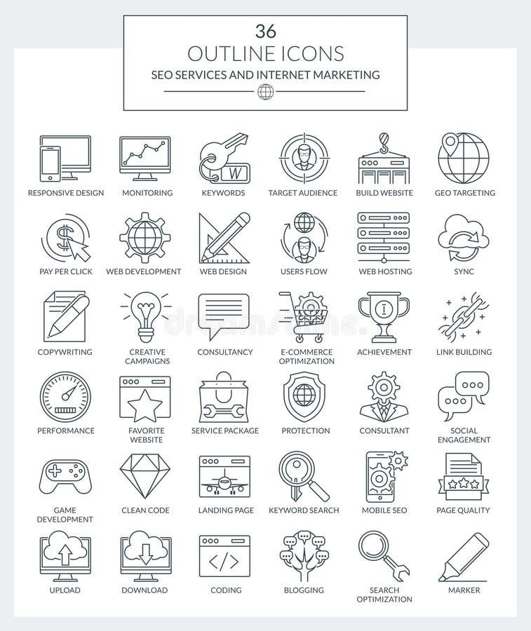Serviços de SEO e ícones do mercado do Internet fotos de stock royalty free