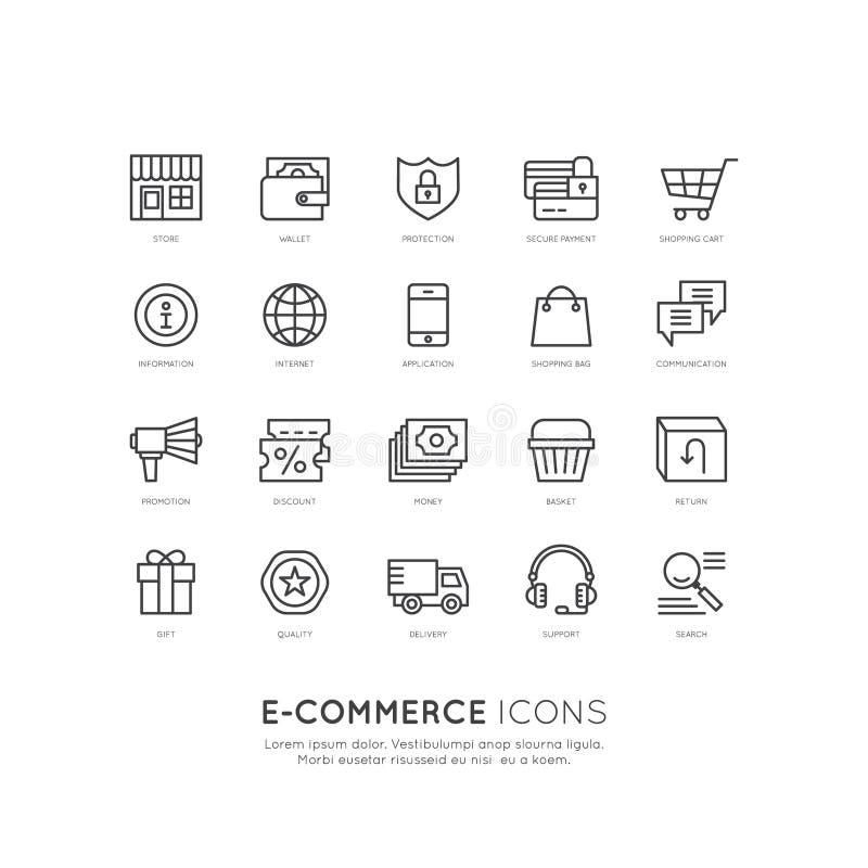 Serviços de transporte e compra das facilidades, entrega e conceito em linha dos retornos, do comércio eletrônico e do m-pagament ilustração stock