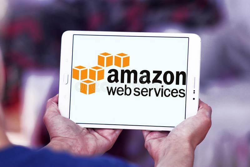 Serviços de Web das Amazonas, AWS, logotipo imagens de stock