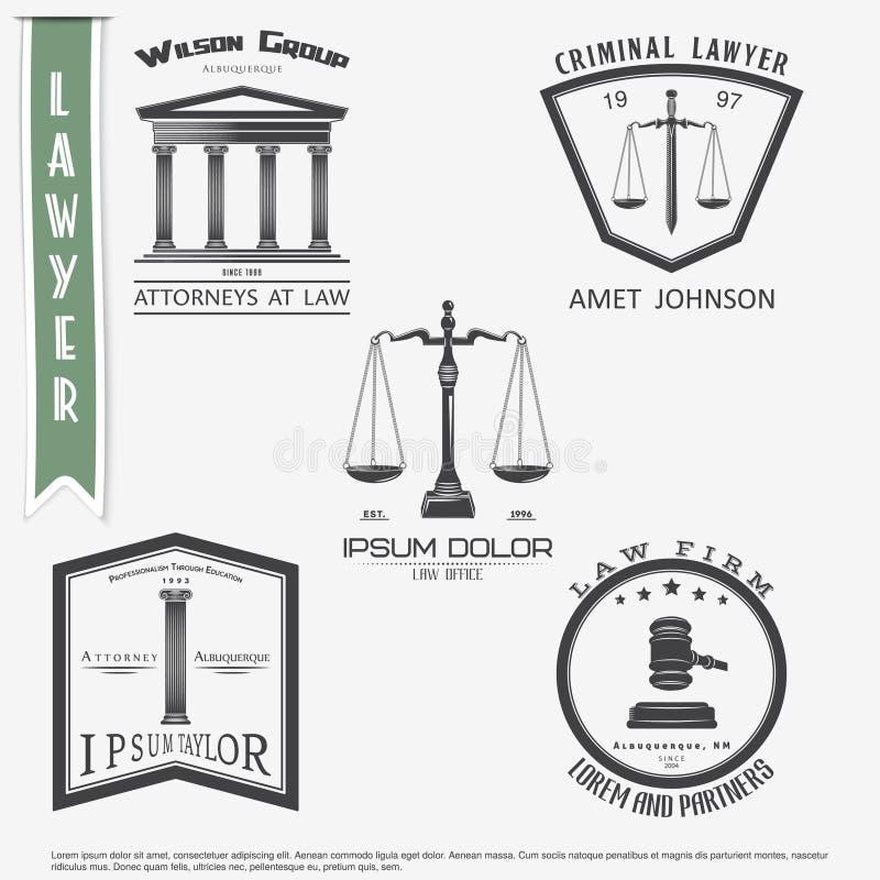 Serviços do advogado Escritório de advogados O juiz, fiscal do distrito, o grupo do advogado de etiquetas do vintage Escalas de j ilustração stock