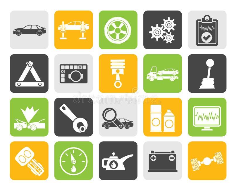 Serviços do carro da silhueta e ícones do transporte ilustração stock