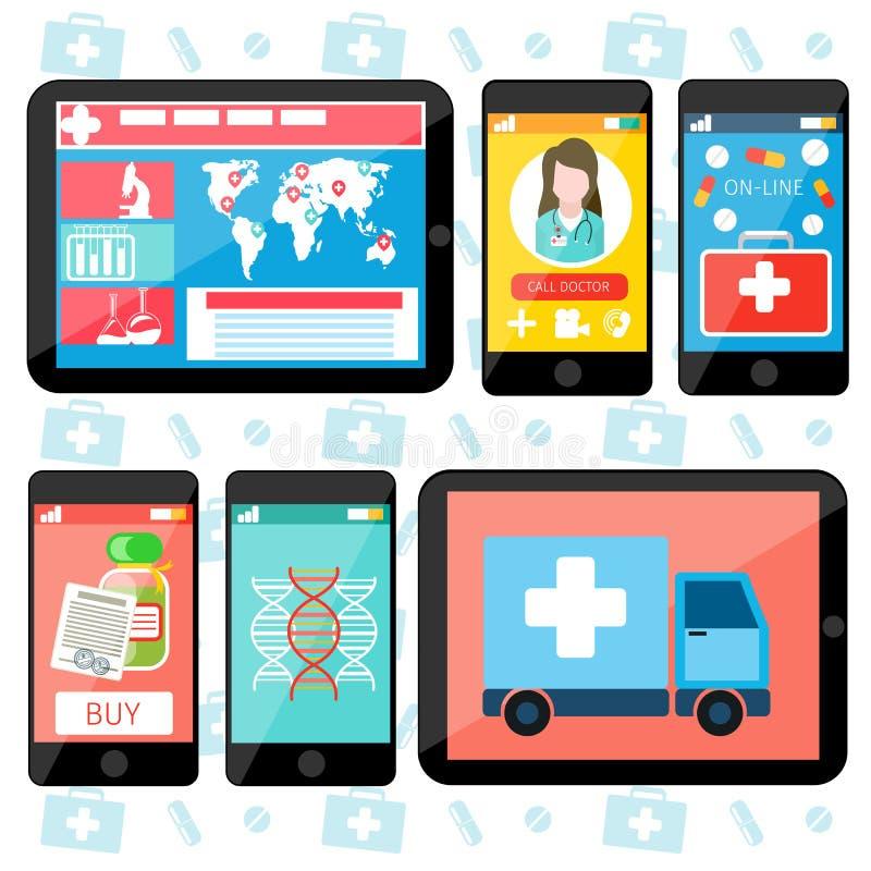 Serviços médicos em linha ilustração do vetor