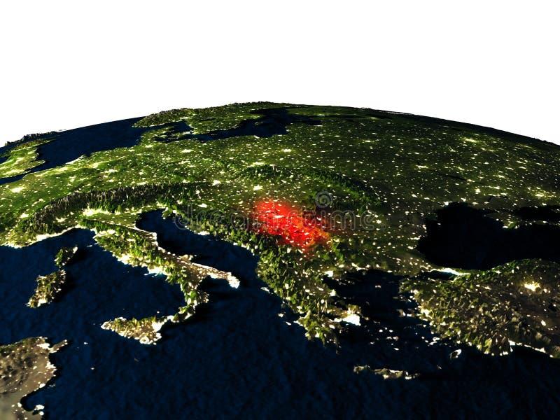 Servië van ruimte bij nacht stock illustratie