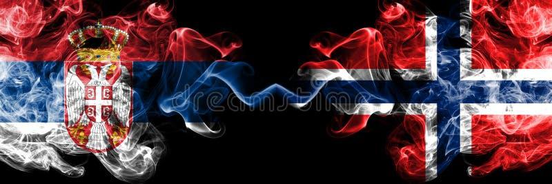 Servië versus Noorwegen, Noorse rokerige zij aan zij geplaatste mysticusvlaggen Dik gekleurde zijdeachtige rookcombinatie van Ser vector illustratie