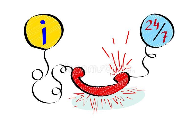 Service à la clientèle Appui d'Infromation Placez des icônes dans le style de griffonnage illustration stock