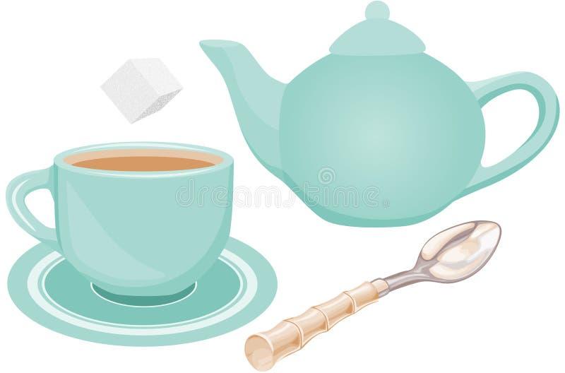 Service à thé illustration de vecteur