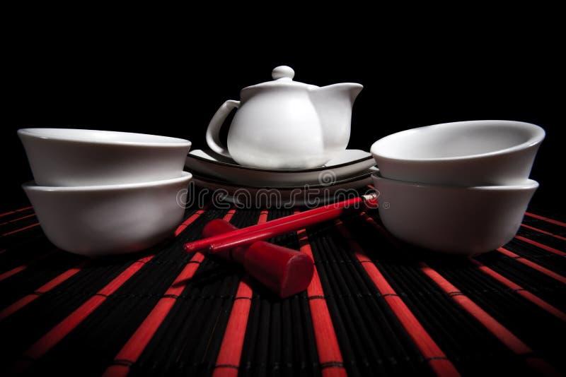 Service à thé chinois blanc photos libres de droits