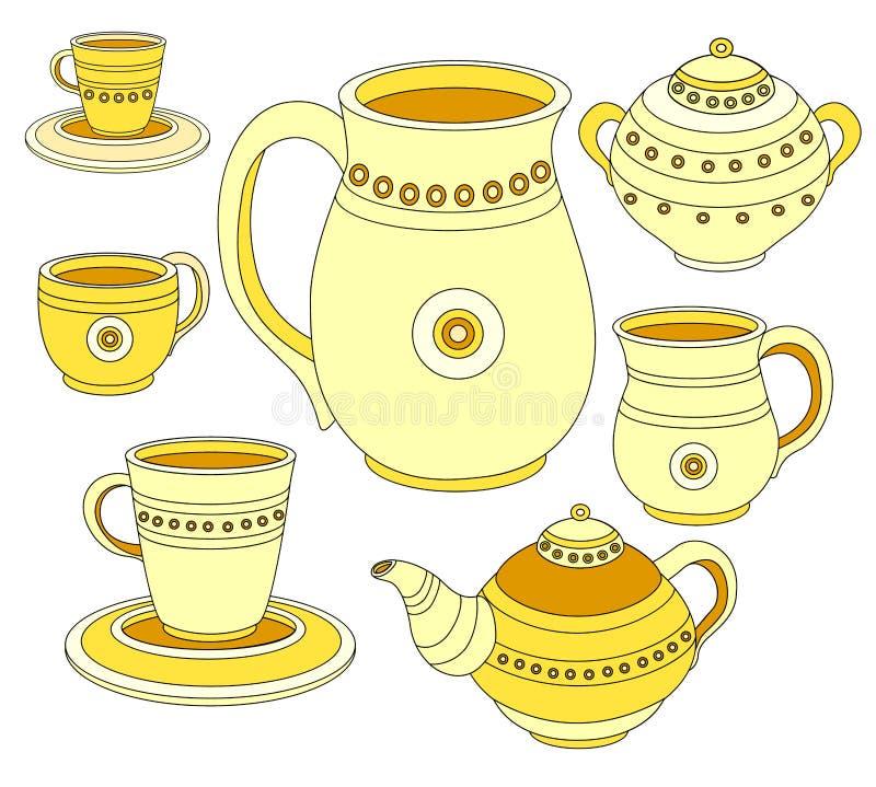 Service à thé, ensemble de café, vaisselle pour le thé et café Collection de illustration libre de droits