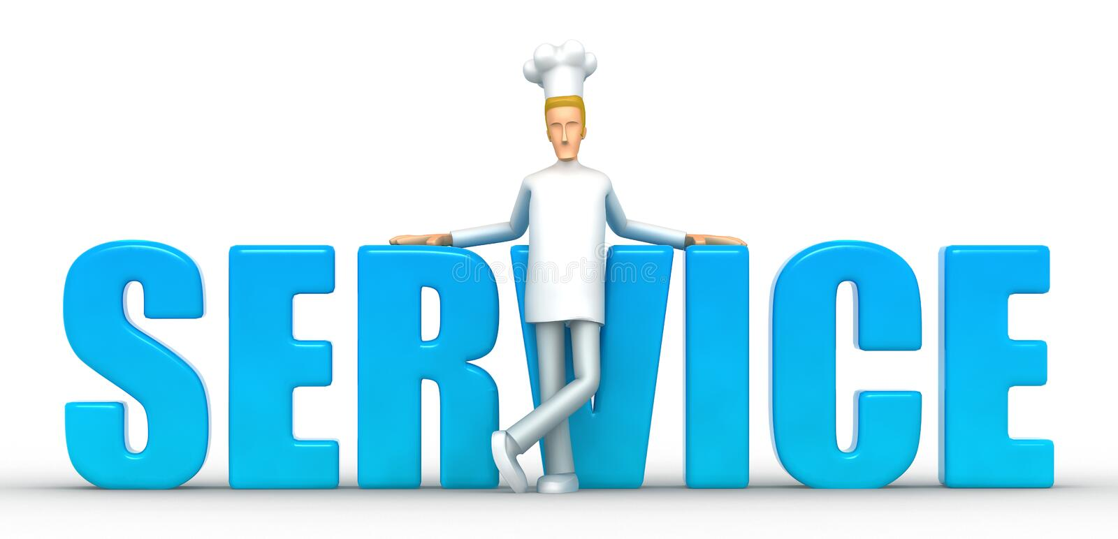 Service. Illustration of an abstract character on a white background for use in presentations, etc