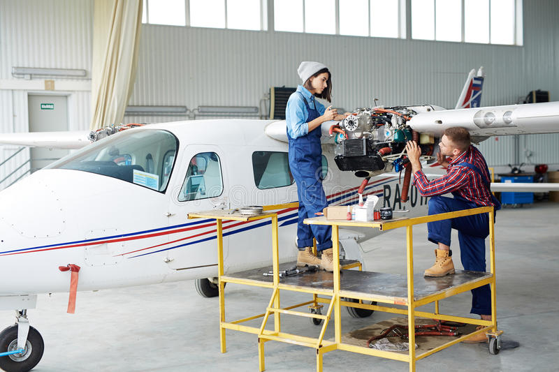 Service of airplane stock images