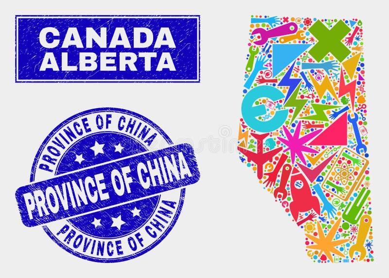 Service Alberta Province Map de mosaïque et province rayée de filigrane de la Chine illustration de vecteur