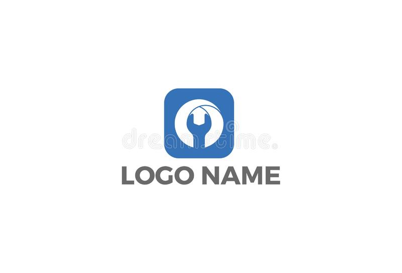 Service-Arbeit, Reparaturaufkleber-Logoentwurf lizenzfreie abbildung