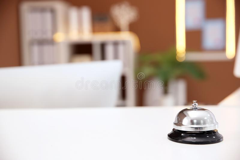 Service bell on reception desk in hotel stock photos