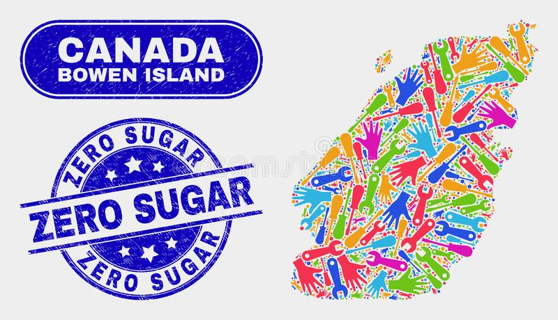 Service Bowen Island Map and Scratched Zero Sugar Stamp Seals. Industrial Bowen Island map and blue Zero Sugar scratched stamp. Colored vector Bowen Island map royalty free illustration