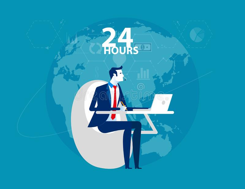 Service. Businessman working online and customer service 24 hours. Flat design style royalty free illustration
