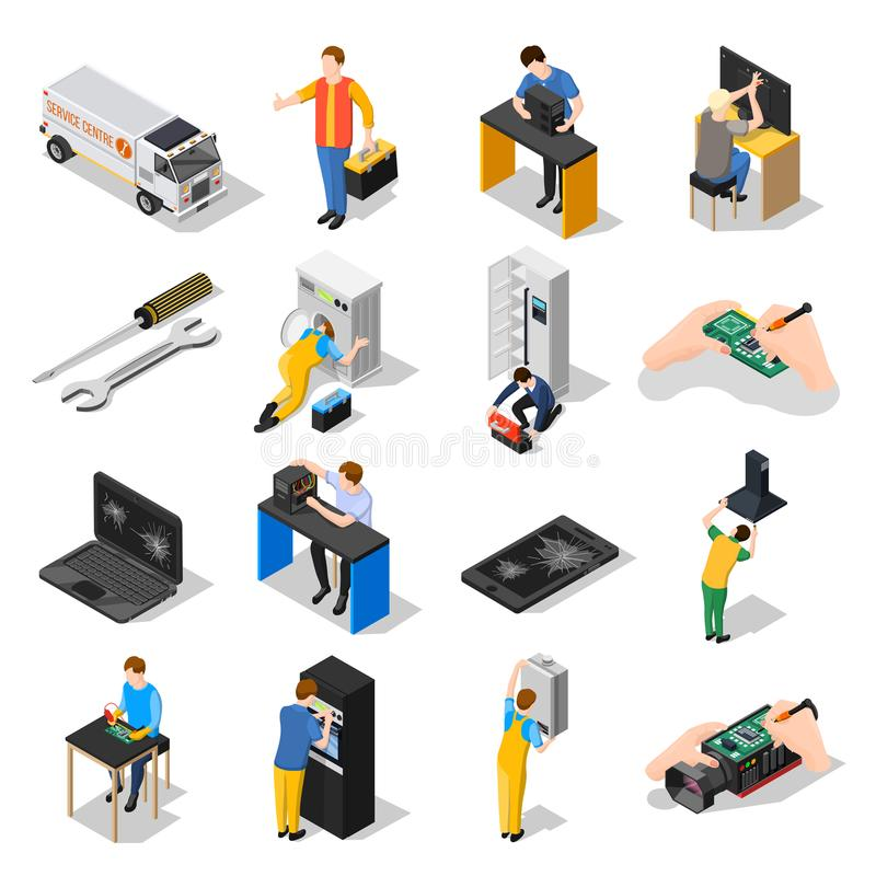 Service Centre Isometric Icons Set. With gadgets household, appliances tools and personnel engaged in installation and adjusting of equipment isolated vector vector illustration