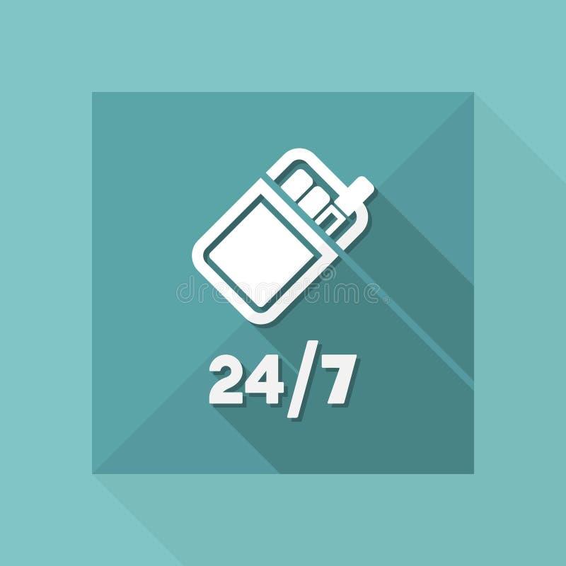 24/7 service - cigarettvaruautomat - vektorrengöringsduksymbol royaltyfri illustrationer