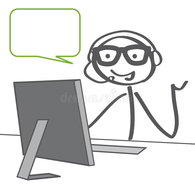 Service client dans une illustration de vecteur de centre d'appels avec le speec illustration stock