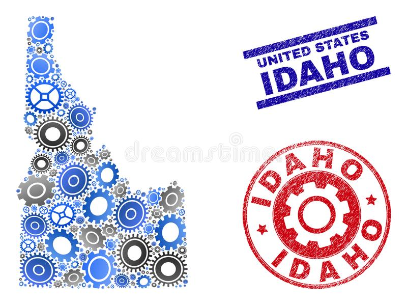 Service Composition Vector Idaho State Map and Grunge Stamps. Gear vector Idaho State map mosaic and seals. Abstract Idaho State map is constructed with gradient stock illustration