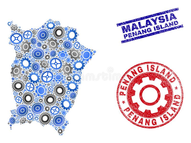 Service Composition Vector Penang Island Map and Grunge Seals. Industrial vector Penang Island map mosaic and stamps. Abstract Penang Island map is constructed stock illustration