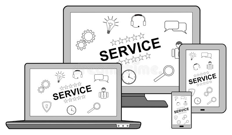 Service concept on different devices. Isolated on white royalty free illustration