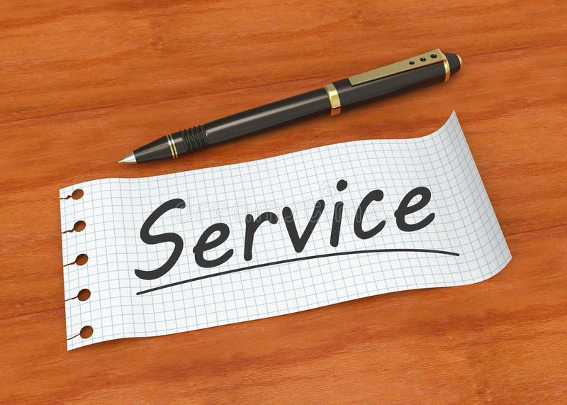 Service concept. Note paper with pen and word service stock image