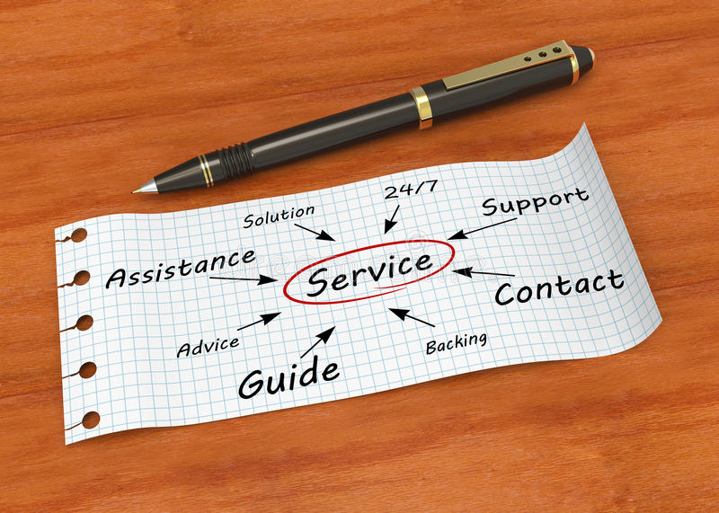 Service concept. Note paper with pen and words service royalty free stock image