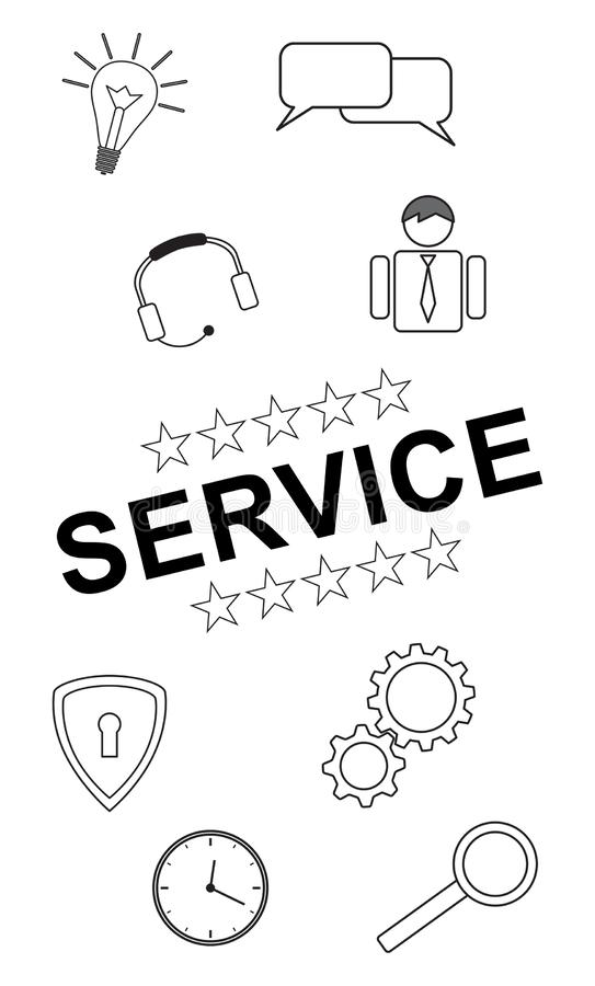 Service concept on white background. Service concept drawn on a white background royalty free illustration