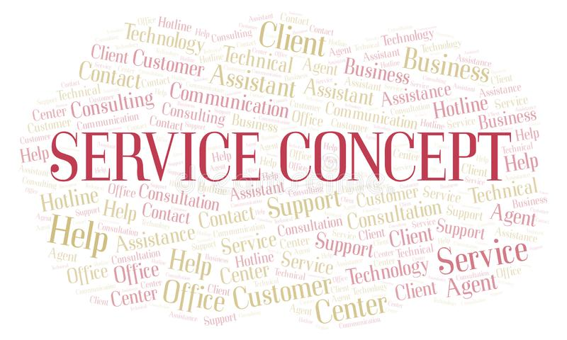 Service Concept word cloud. Wordcloud made with text only vector illustration