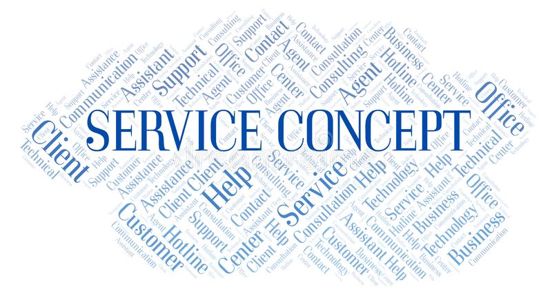 Service Concept word cloud. Wordcloud made with text only royalty free illustration