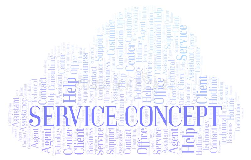 Service Concept word cloud. Wordcloud made with text only stock illustration