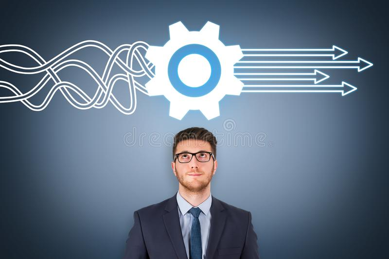 Service Concepts over Business Person on Visual Screen royalty free stock image