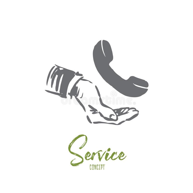 Service, customer, business, support, call center concept. Hand drawn isolated vector. royalty free illustration