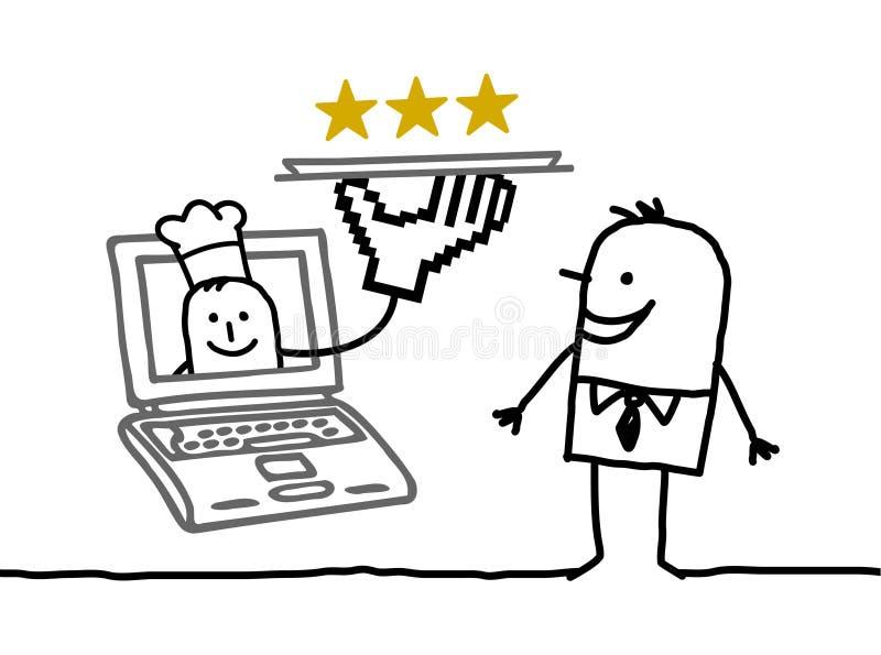 Service d'homme et de cuisinier en ligne illustration libre de droits