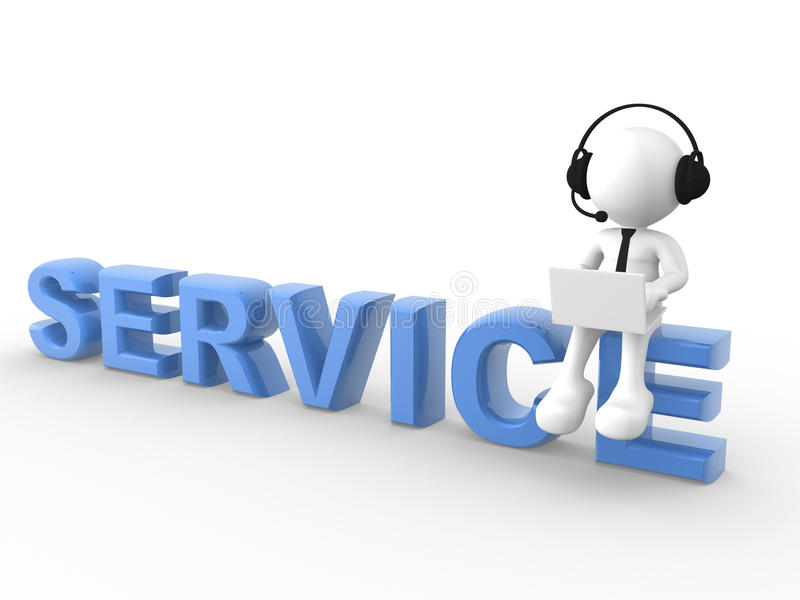 Service. 3d people - man, person with laptop and a headphones sitting on the word SERVICE vector illustration