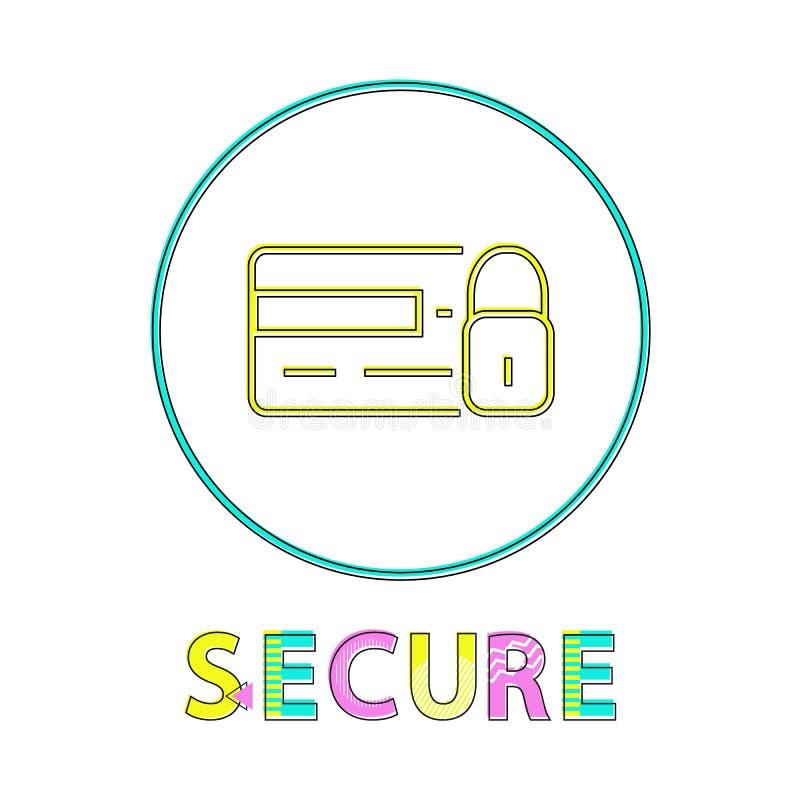 Service de achat en ligne sûr autour de bouton linéaire illustration stock