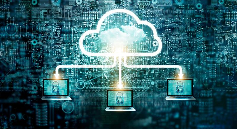Service de calcul de technologie de stockage de données de réseau de diagramme de nuage photo stock