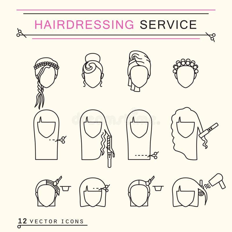 Service de coiffure Icônes de schéma photos libres de droits