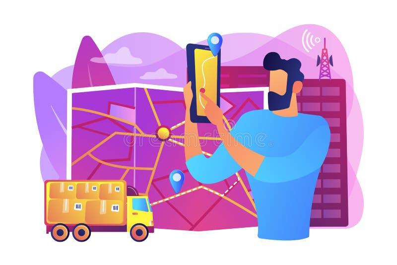 Service de courrier dépistant l'illustration de vecteur de concept illustration libre de droits